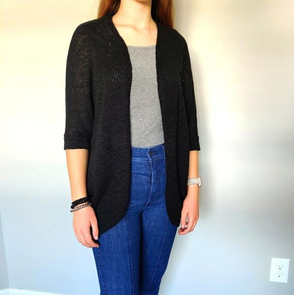 Black 1/2 sleeve knit cardigan